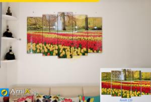 hinh anh tranh treo tuong hoa tulip dep cho phong khach