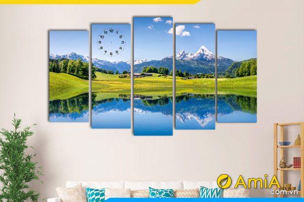 Hình ảnh Tranh treo tường phòng khách phong cảnh núi non đẹp AmiA 176