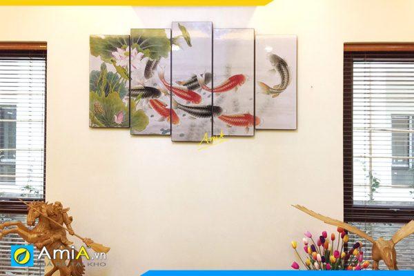 Hình ảnh Tranh treo tường phong thủy cửu ngư quần hội AmiA 368