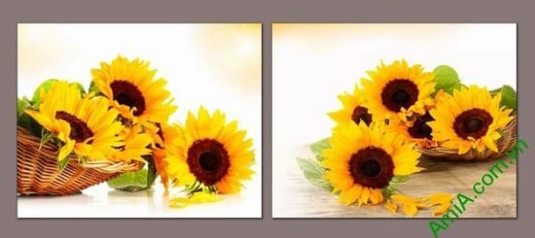 mau tranh hoa huong duong trang tri tuong dep