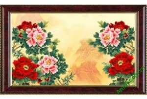 tranh hoa mau don kho nho treo phong khach
