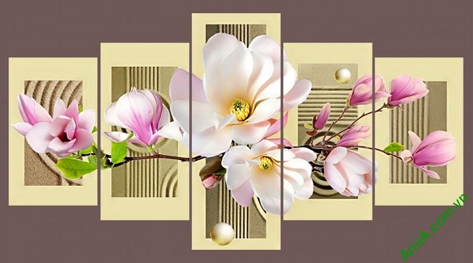 tranh treo tuong phong khach hoa moc lan hong