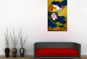 Hinh anh tranh hoa sen in vai canvas treo phong khach