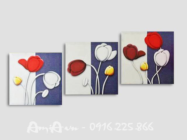 Hinh anh bo tranh canvas 3 tam hoa tulip AmiA