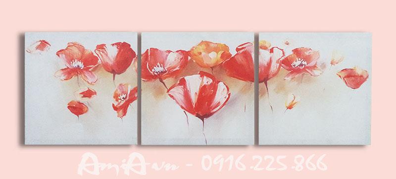 Hinh anh tranh hoa poppy ghep bo 3 tam AmiA 4144
