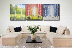 tranh khu rung dep in vai canvas
