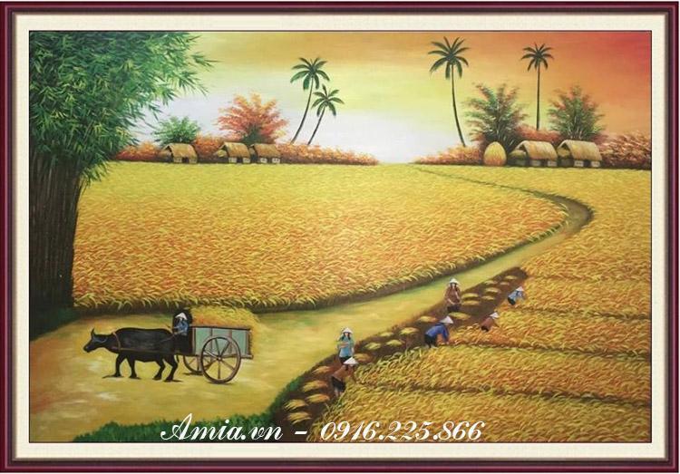 tranh phong canh que huong canh dong lua chin