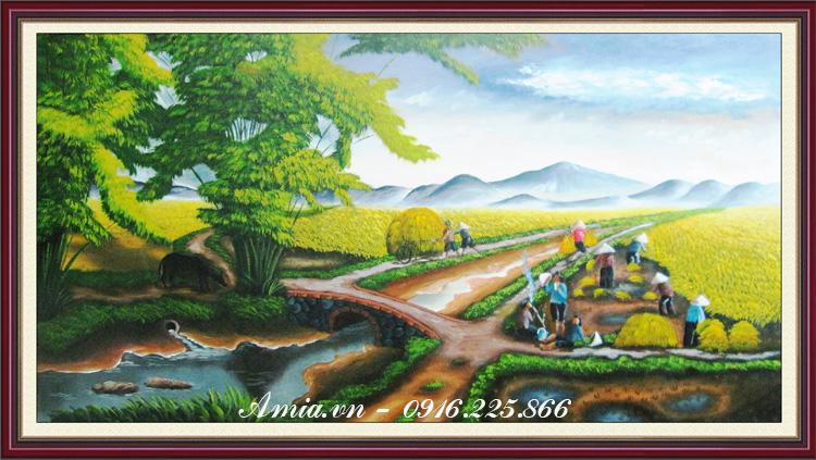 tranh treo tuong phong canh con duong que huong