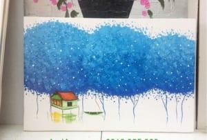 tranh phong canh hang cay xanh
