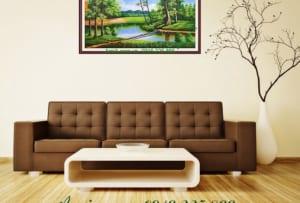 tranh son dau ve phong canh khu rung xanh