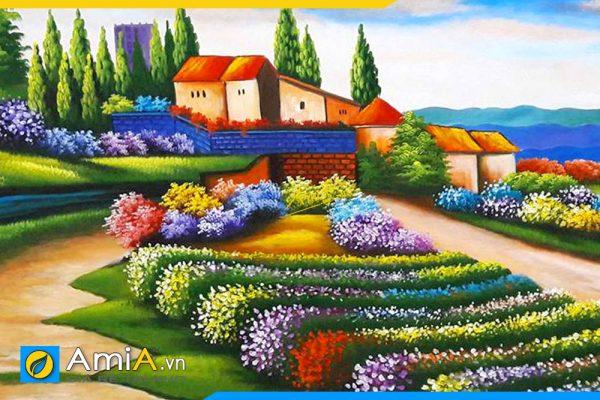 Hình ảnh Chi tiết bức tranh sơn dầu phong cảnh đẹp AmiA TSD 175