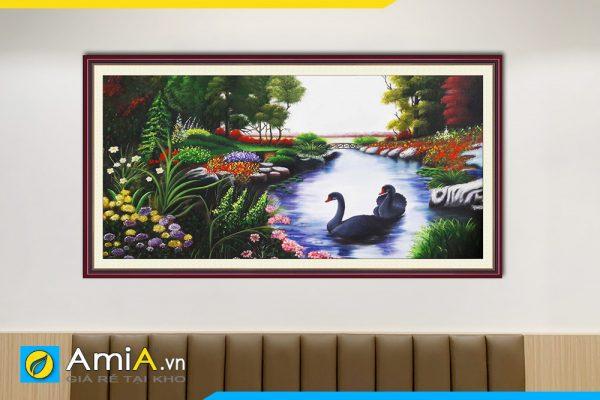 Hình ảnh Tranh đôi thiên nga đẹp bơi lội dưới hồ nước AmiA TSD 161