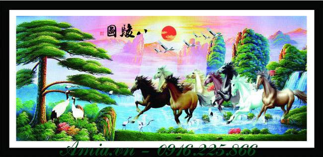 tranh phong thuy phong canh ngua phi nuoc dai