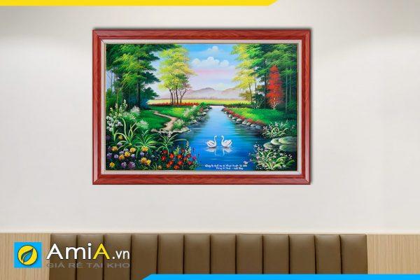Hình ảnh Tranh treo phòng ngủ phong cảnh đôi thiên nga dưới hồ nước AmiA TSD 161