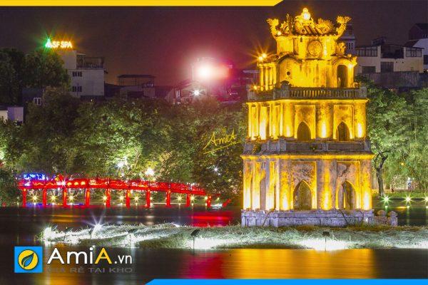 Hình ảnh Chi tiết bức tranh phong cảnh Hồ Gươm về đêm đẹp AmiA 1387