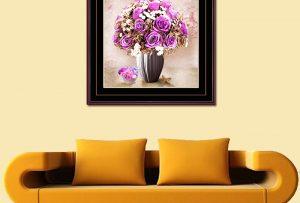 tranh binh hoa hong tim trang tri phong