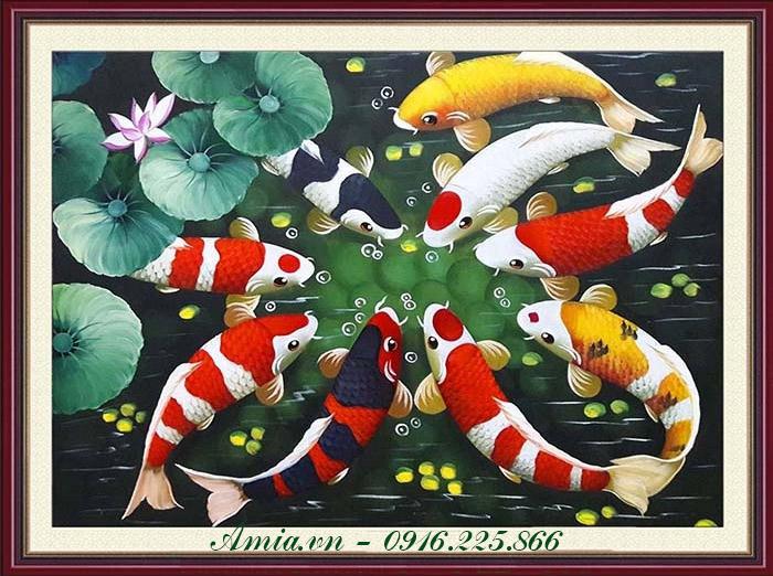 tranh ve son dau ca chep hoa sen phong thuy