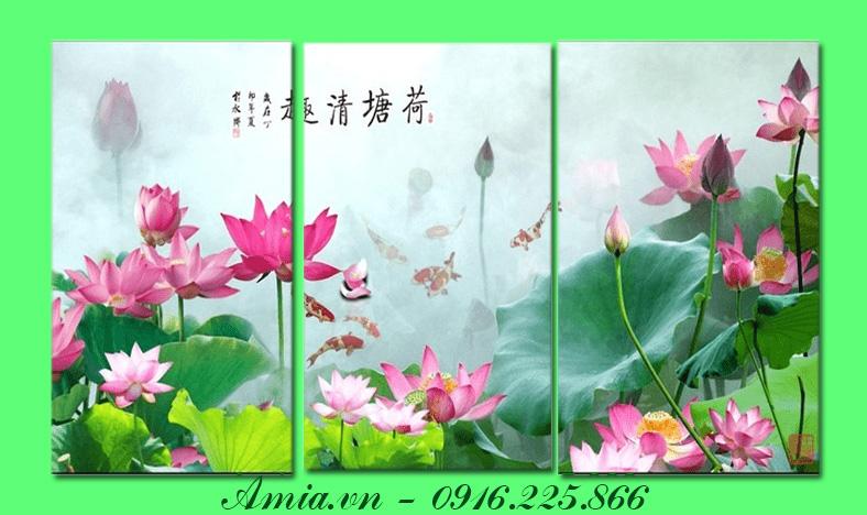 tranh hoa sen phong thuy mang den van khi tot