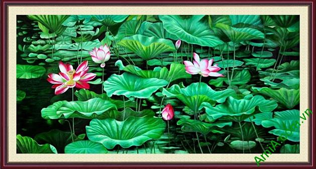 tranh hoa sen phong thuy trang tri phong dem den khong gian an tuong