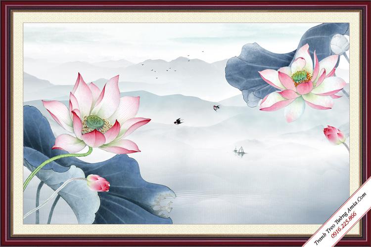 tranh hoa sen phong thuy trong som tinh suong