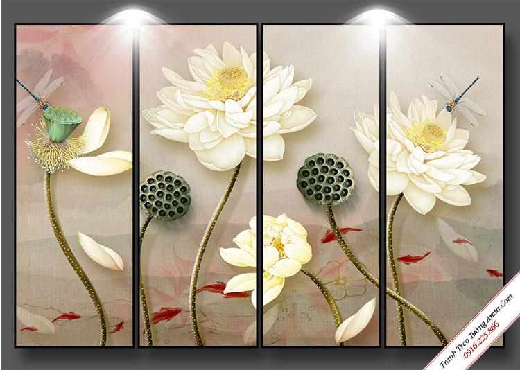 tranh treo tuong hoa sen trang