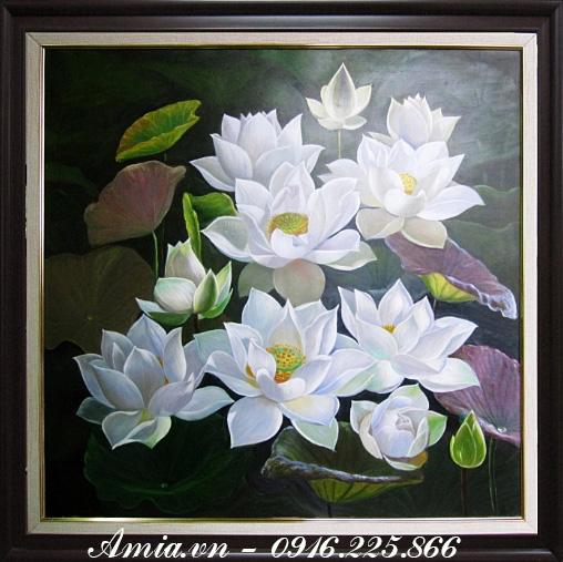 tranh hoa sen phong thuy ve son dau