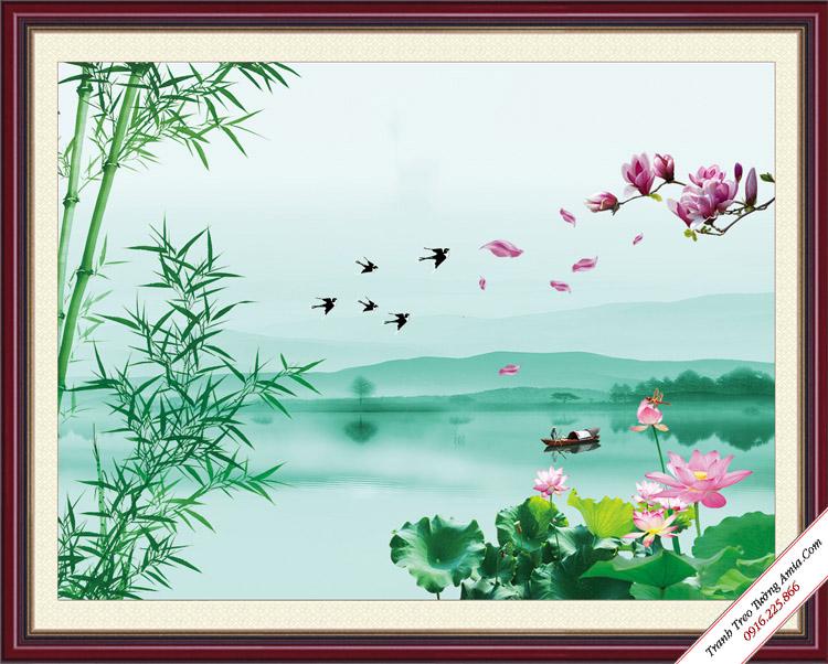 tranh phong canh dep dam hoa sen