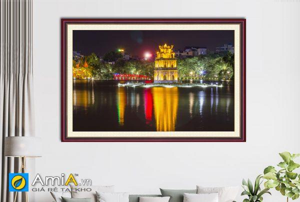 Hình ảnh Tranh phong cảnh Tháp Rùa Hồ Gươm về đêm đẹp hiện đại AmiA 1387