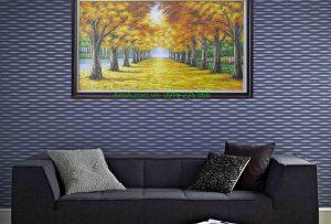 tranh son dau phong canh hang cay mua thu treo phong khach