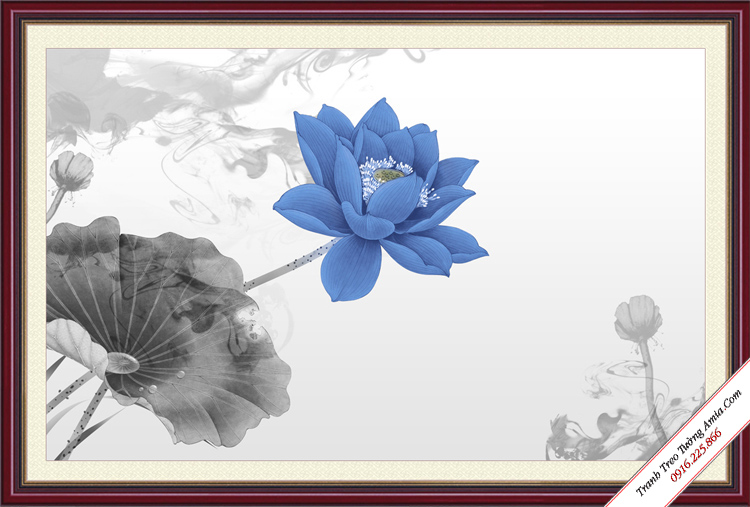 tranh trang tri hoa sen xanh nghe thuat