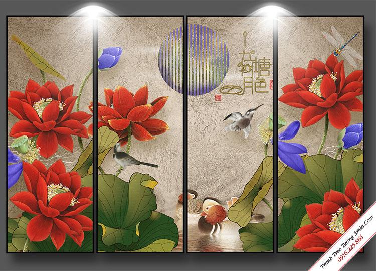 tranh treo tuong hoa sen do ghep bo