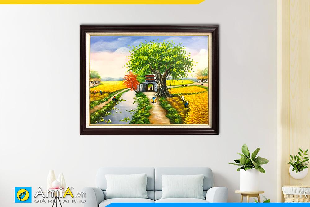 Hình ảnh Tranh treo tường phong cảnh làng quê vẽ sơn dầu AmiA TSD 362