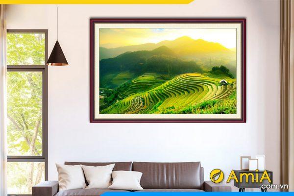 Hình ảnh Tranh treo tường phong cảnh ruộng bậc thang đẹp xanh mát AmiA 1386