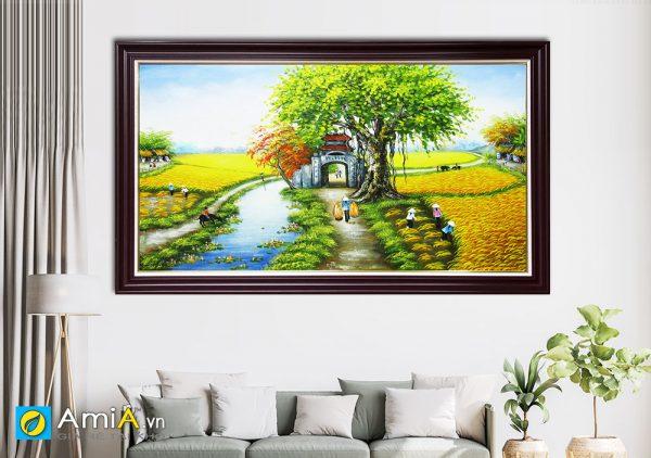 Hình ảnh Tranh vẽ sơn dầu phong cảnh làng quê đồng quê AmiA TSD 362