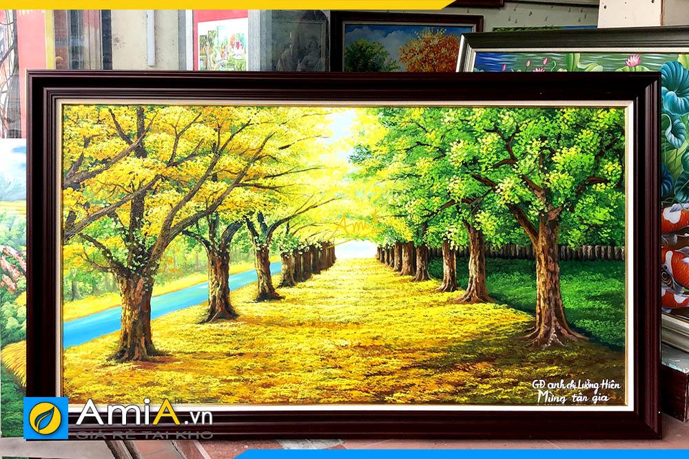 Hình ảnh Bức tranh sơn dầu phong cảnh hàng cây làm quà tặng AmiA TSD 383