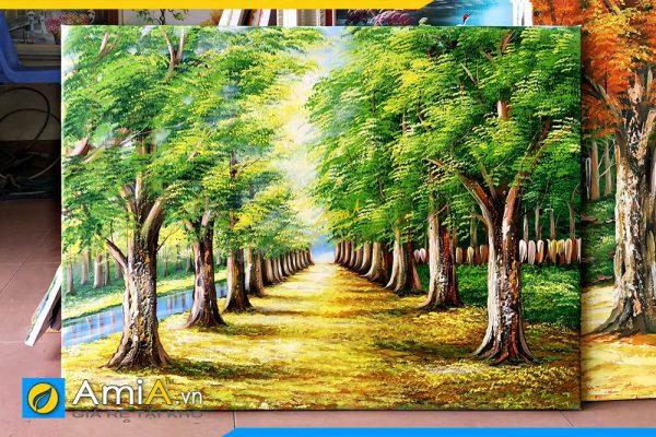 Hình ảnh Bức tranh treo tường sơn dầu cảnh hàng cây chưa lên khung AmiA TSD 383
