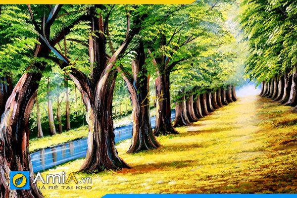 Hình ảnh Chi tiết bức tranh phong cảnh hàng cây vẽ sơn dầu AmiA TSD 383