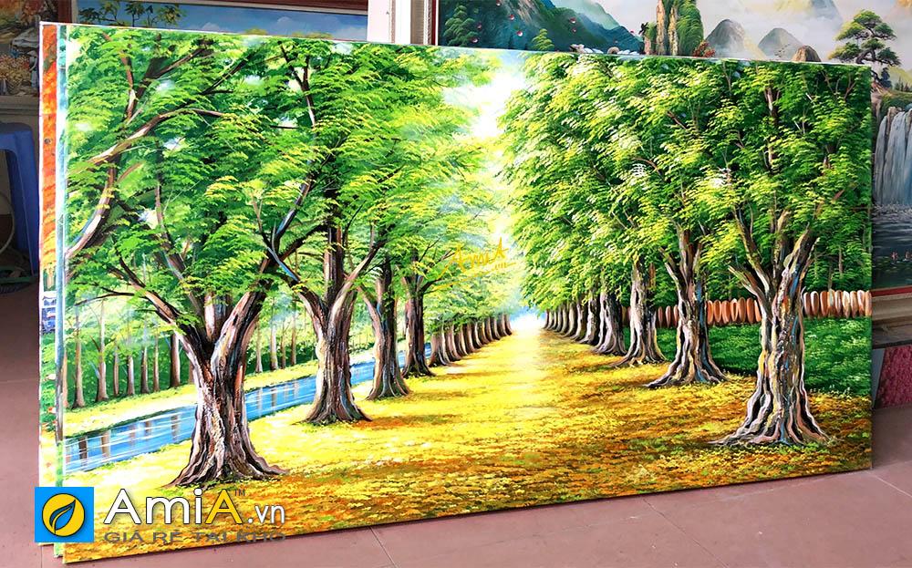 Hình ảnh Tranh sơn dầu cảnh hàng cây đẹp trong trẻo AmiA TSD 383