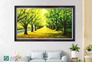 Hình ảnh Tranh sơn dầu phong cảnh hàng cây mùa thu AmiA TSD 383