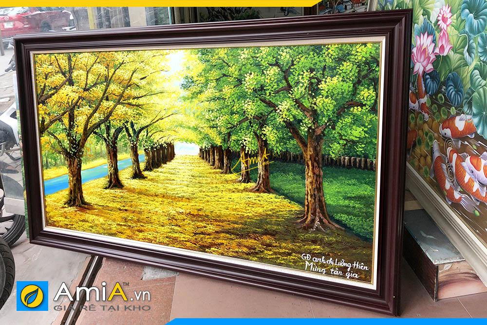 Hình ảnh Tranh sơn dầu phong cảnh hàng cây treo tường AmiA TSD 383