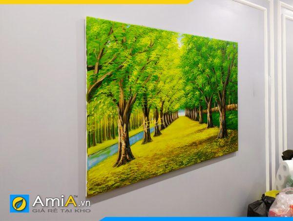 Hình ảnh Tranh sơn dầu treo tường không đóng khung phong cảnh hàng cây AmiA TSD 383
