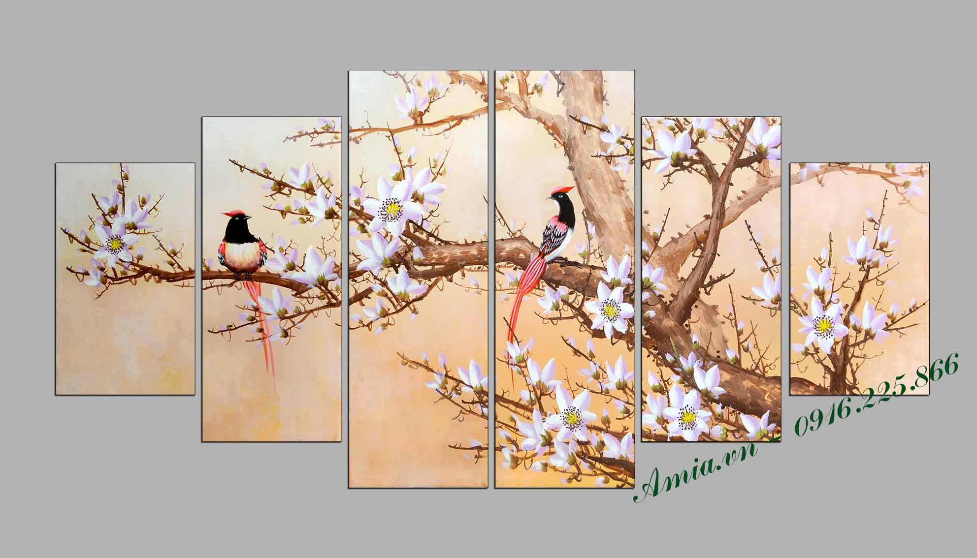 tranh xuan doi chim sum vay dep hop menh Hoa thuoc hanh Moc phong thuy