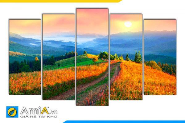 Hình ảnh Mẫu tranh phong cảnh thiên nhiên đồi núi ghép bộ đẹp AmiA 1434