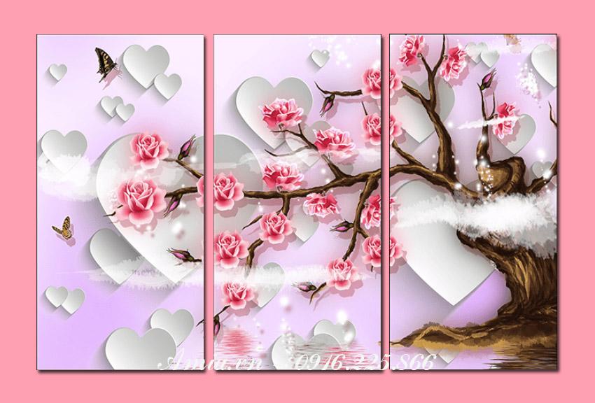tranh hoa hong tinh yeu treo tuong phong khach, phong ngu