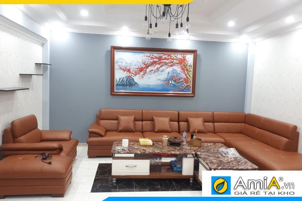 Tranh sơn dầu cành đào khổ lớn treo phòng khách rộng AmiA TSD 403