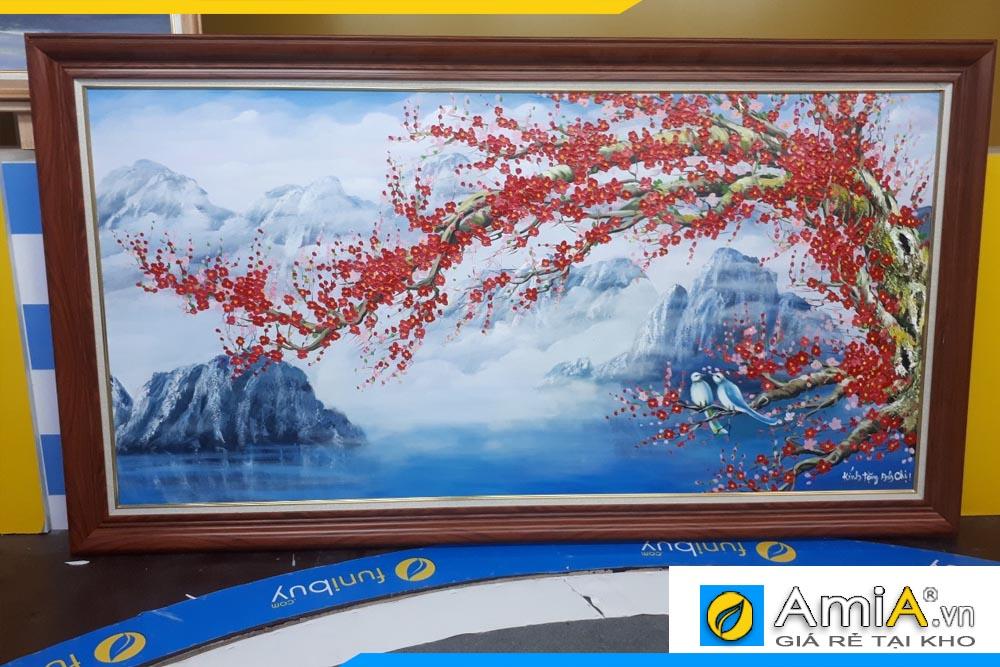 Tranh sơn dầu cành đào đẹp AmiA TSD 403