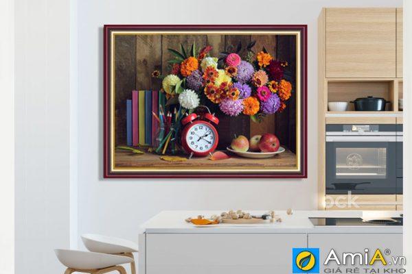 Tranh bình hoa đẹp treo tường phòng ăn amia BH119