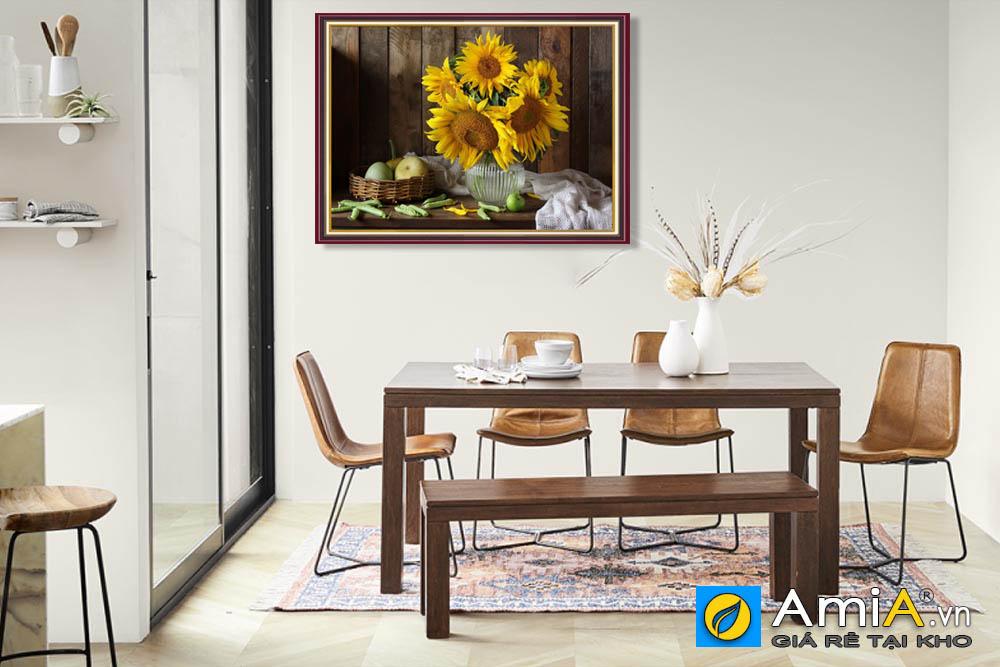 Tranh bình hoa hướng dương treo phòng ăn amia BH117
