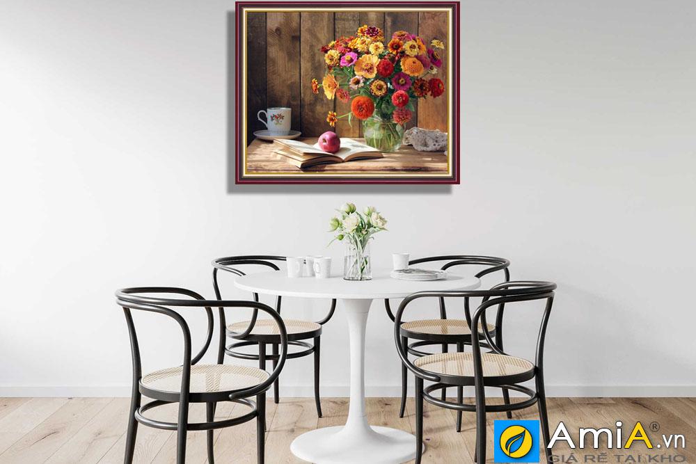 Tranh bình hoa treo tường phòng ăn hiện đại amia bh117