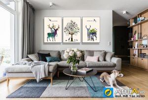 tranh bộ canvas bắc âu đàn nai và rừng cây trang trí phòng khách hiện đại AmiA 1567